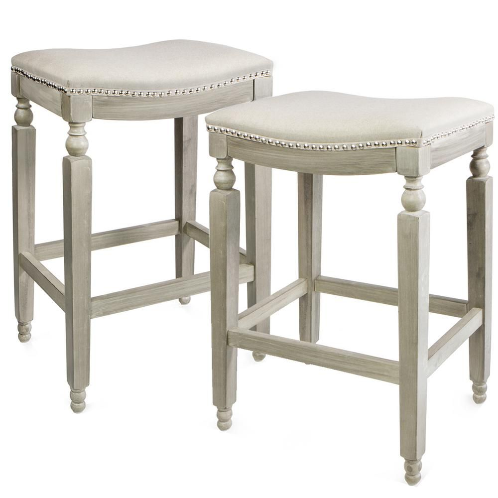 Barton Classic Isabel 28 5 In Beige Backless Counter Saddle Stool Set Of 2 94036 In 2020 Backless Bar Stools Bar Stools Stool