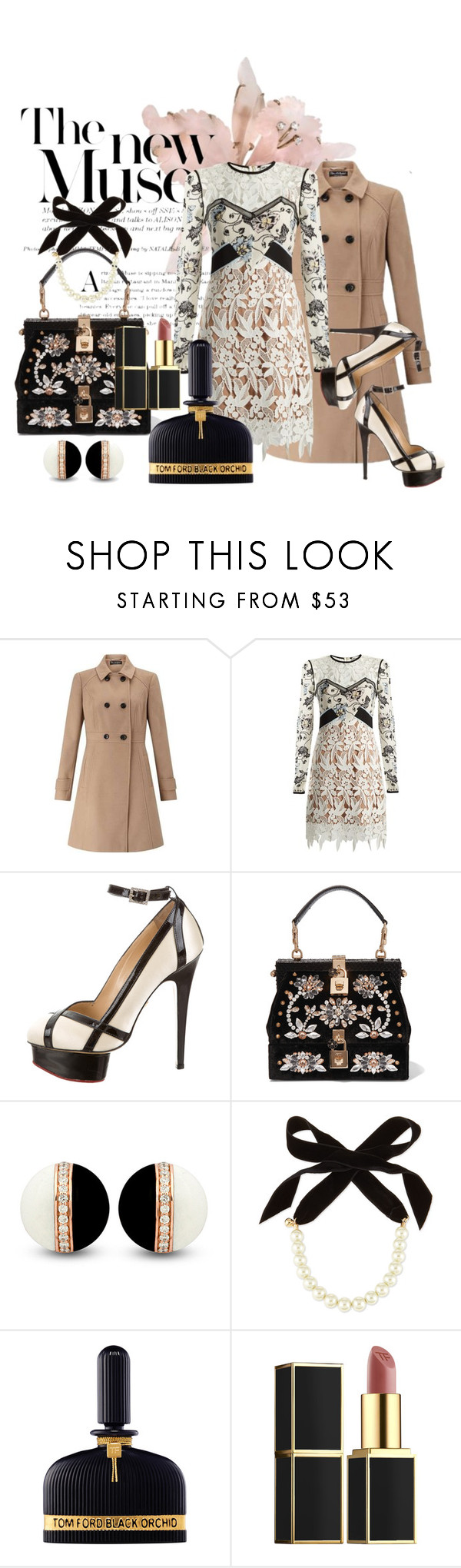 """""""The new Muse"""" by mariloli1303 ❤ liked on Polyvore featuring Miss Selfridge, self-portrait, Charlotte Olympia, Dolce&Gabbana, Lulu Frost and Tom Ford"""