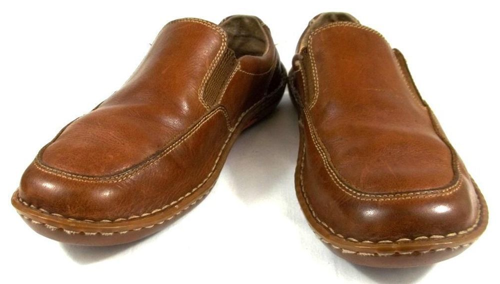 f21d8c331050 Born Mens Shoes Solid Brown Leather Slip On Loafers Size 9 M  Born   LoafersSlipOns
