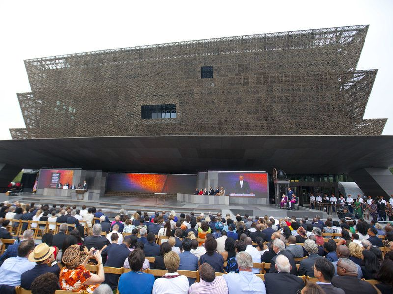 President Barack Obama speaking at the dedication ceremony for the National African American Museum of History and Culture.