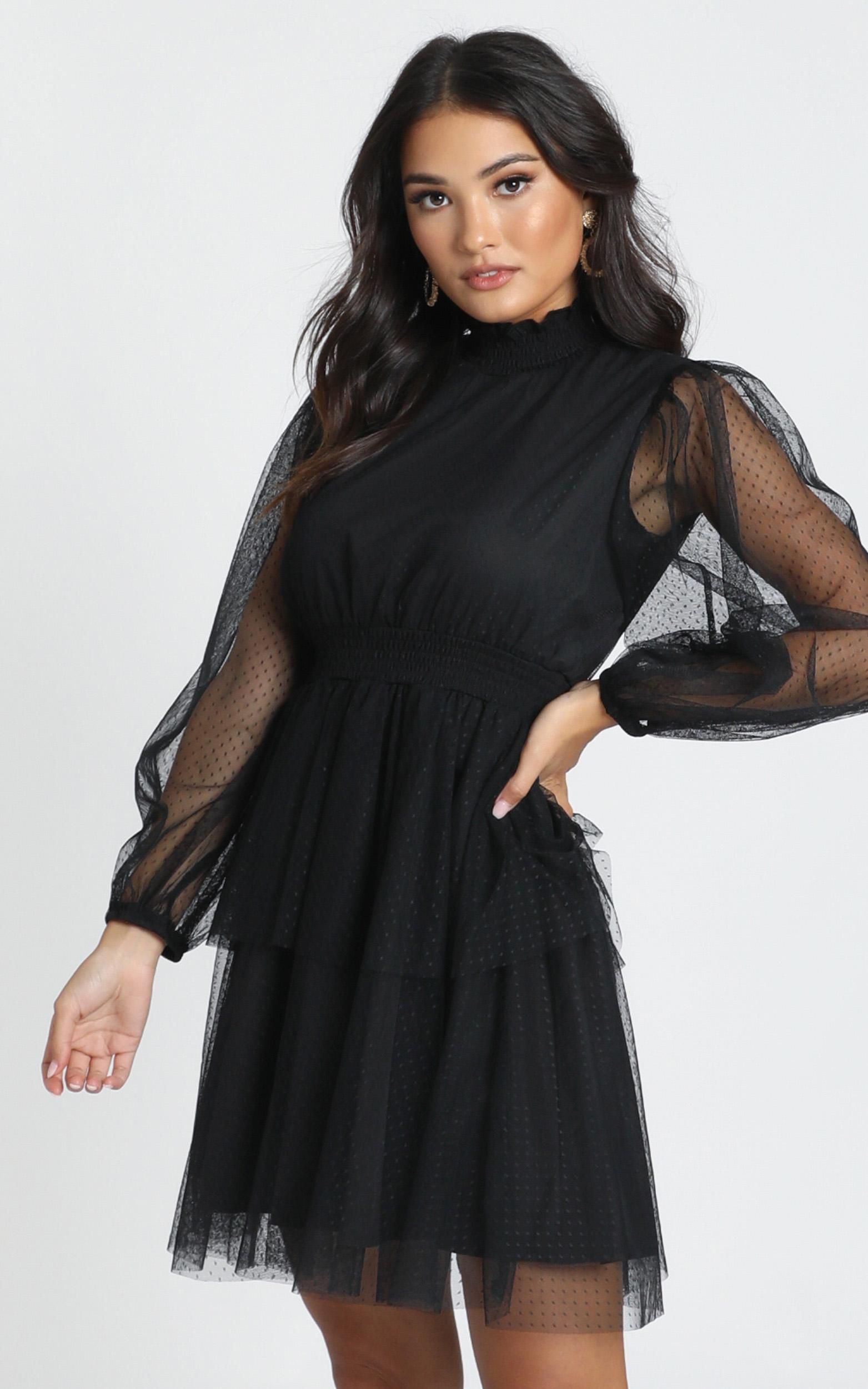 Selene Tiered Mesh Mini Dress In Black Spot Showpo Mesh Top Dress Mini Dress Dresses [ 2500 x 1563 Pixel ]