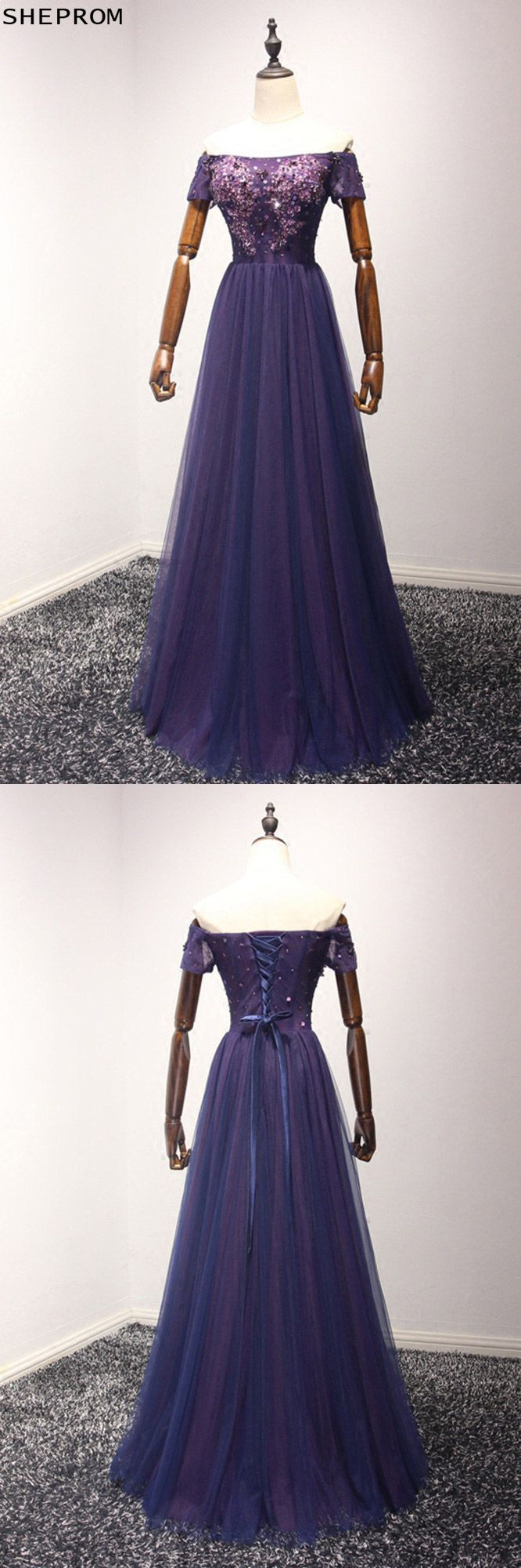 Beautiful long purple prom dress with beading top off shoulder style