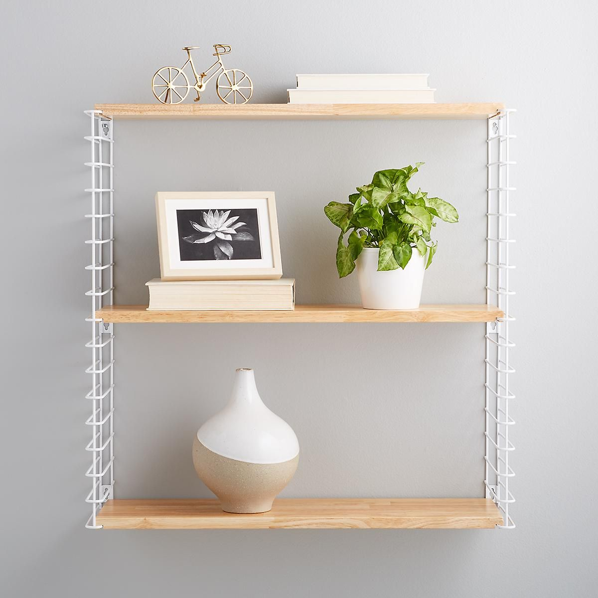 White Metal Natural Solid Wood Libro Wall Shelf The Container Store Shelves Wall Shelves Wall Mounted Shelves