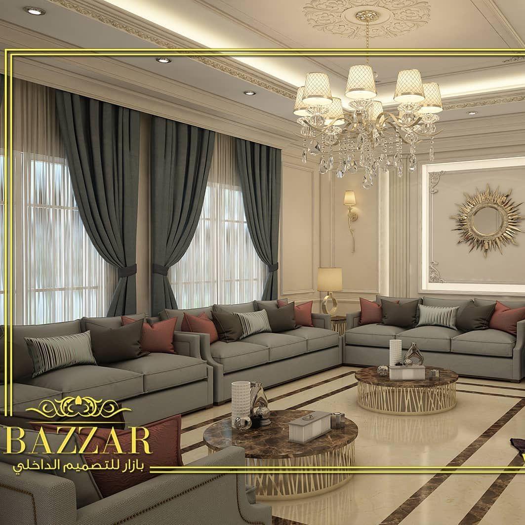 تصميم مجلس رجال نيو كلاسيك ذو خطوط عصريه واضحة وجدران ذات ألوان هادئه وزخارف ذات تفاصيل متق Modern Furniture Living Room Home Room Design Luxury Ceiling Design