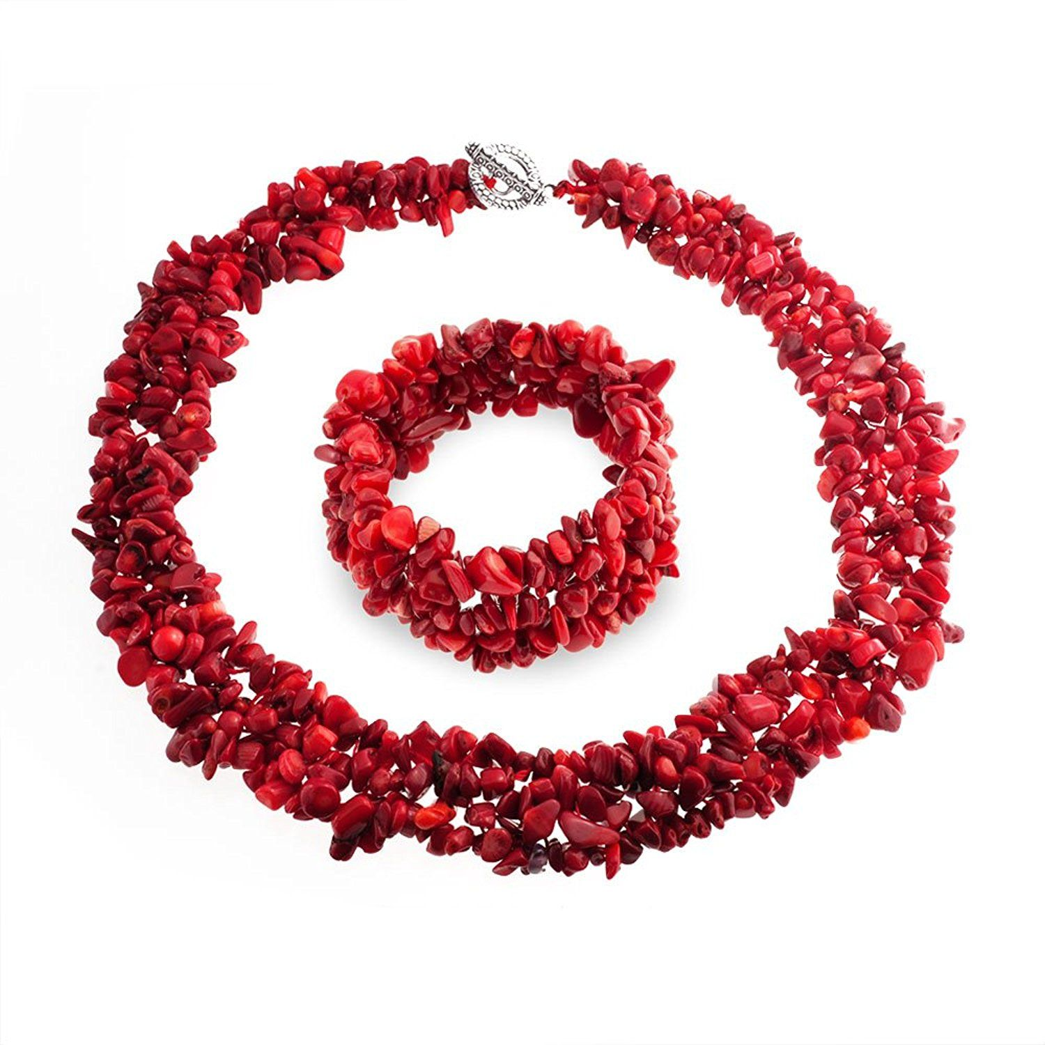 Bling Jewelry Multi Strands Dyed Red Coral Chips Chunky Silver Plated Necklace 18 Inches WAGNHF