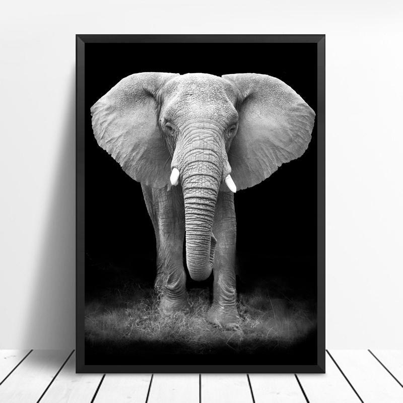 Giraffe Lion Elephant Black White Artwork Animal Canvas Paintings Black And White Artwork Elephant Black And White