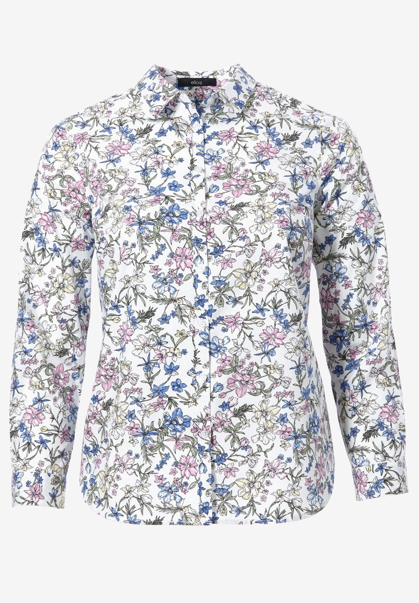 55295d8f Ellos Plus Size Clothing for Women. Emma Button-Down Shirt by ellos®, WHITE  MULTI FLORAL