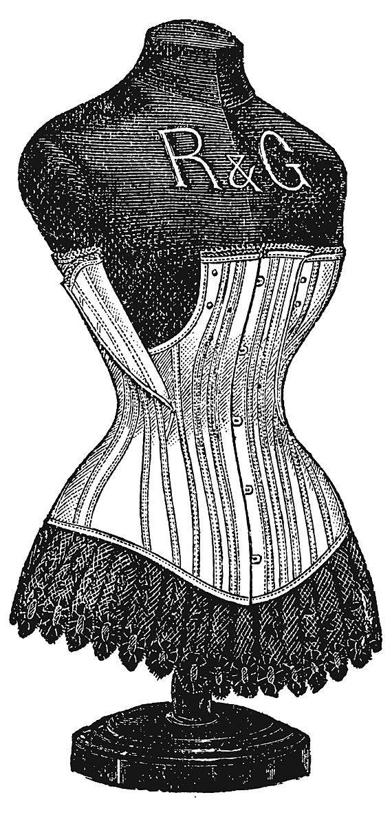 Corset Dressform (1895). $4.00, via Etsy.