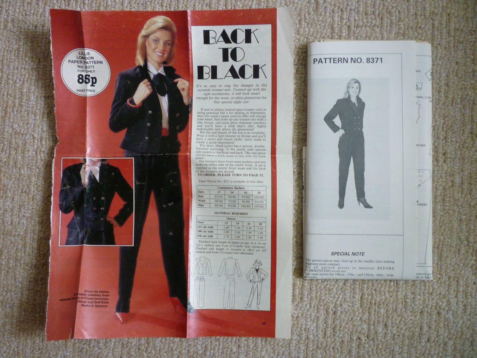 Lillie London 1980s Trouser Suit Jacket Trousers Pattern Size 16 Un Cut