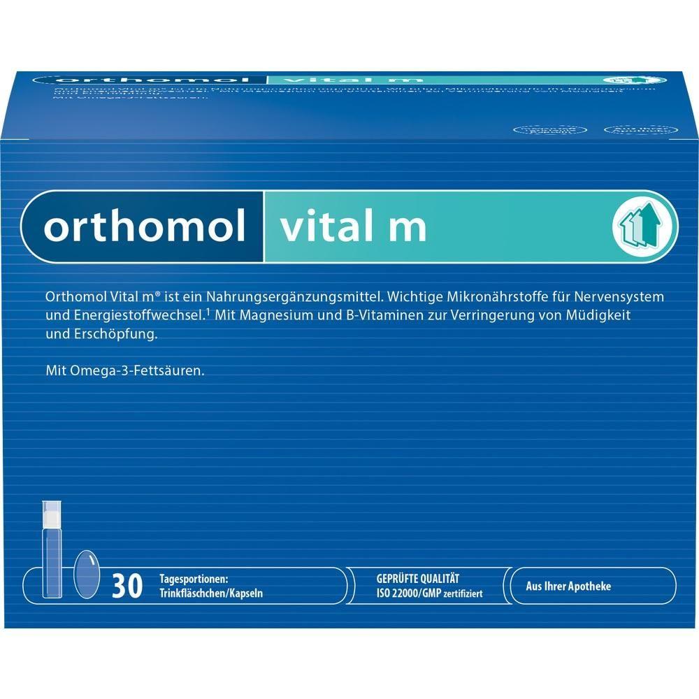ORTHOMOL Vital M Trinkfläschchen:   Packungsinhalt: 30 St Trinkampullen PZN: 01319850 Hersteller: Orthomol pharmazeutische Vertriebs GmbH…