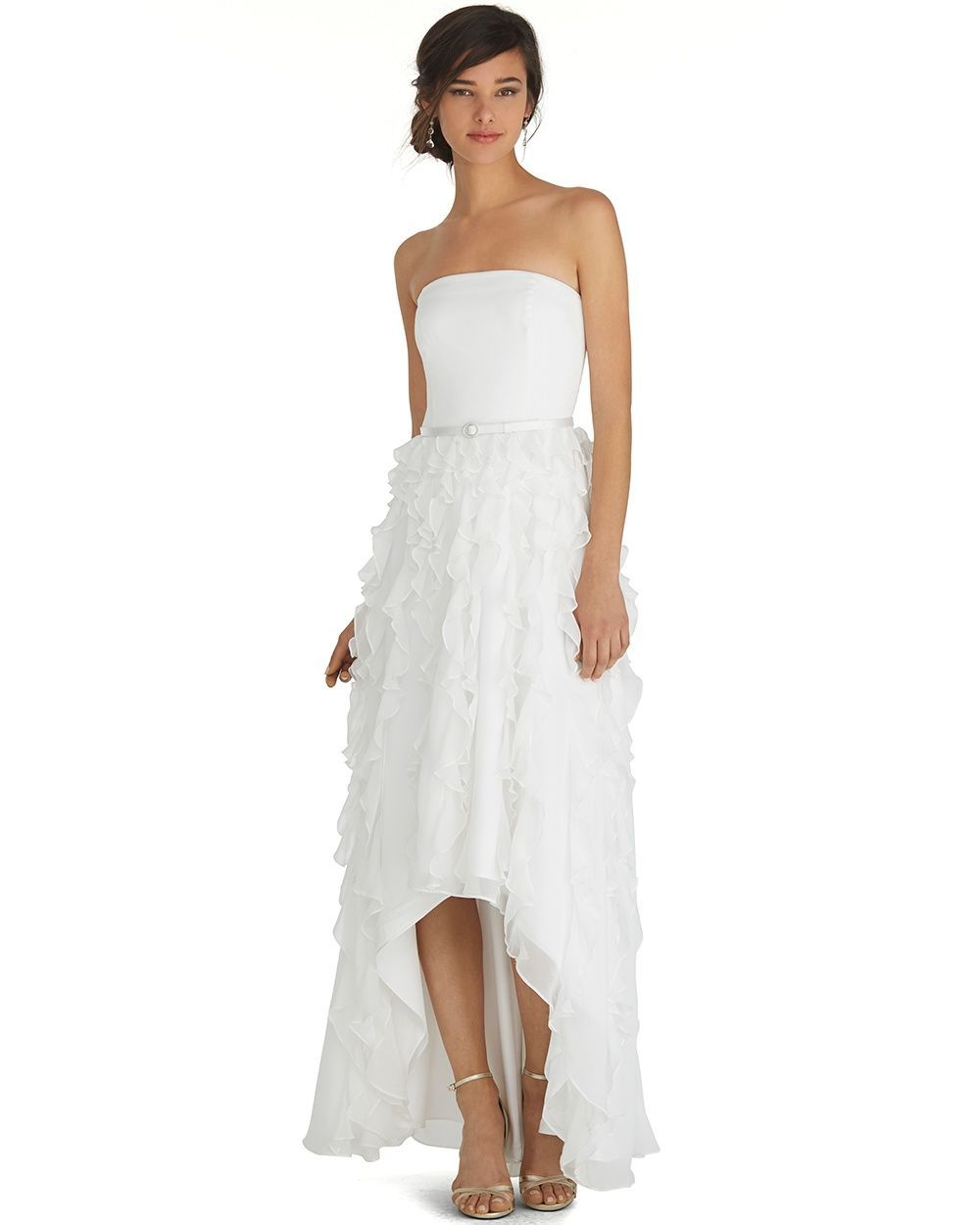 Strapless highlow waterfall gown white house black market