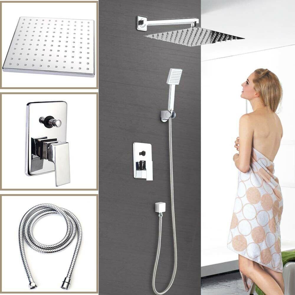 Us Bathroom Chrome Rain 8 Shower Head Arm Set Faucet With Valve