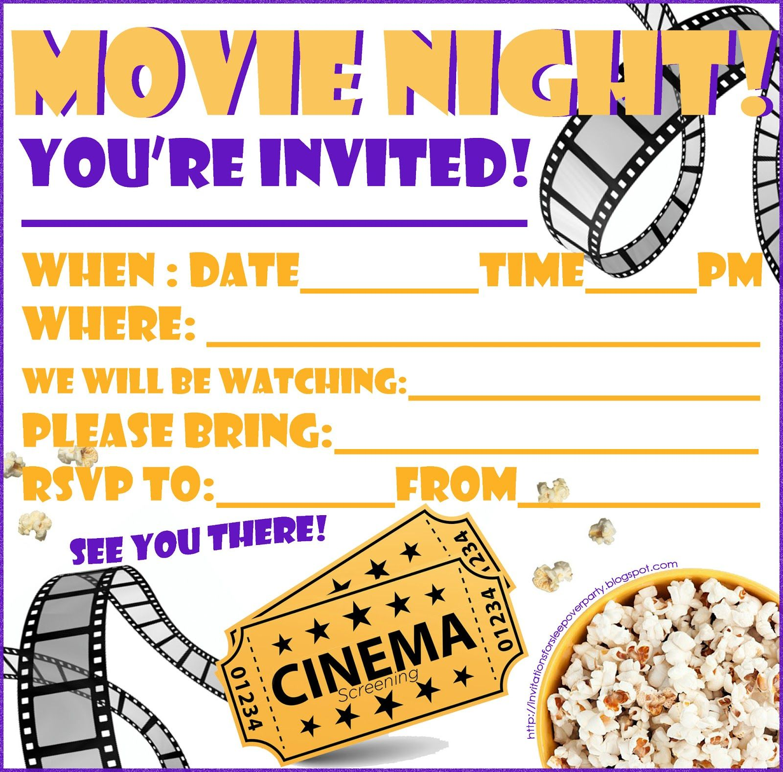 INVITATIONS FOR SLEEPOVER PARTY MOVIE NIGHT INVITATION FREE