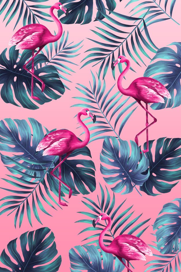 Funny tropical print in hand painted style with pink flamingo Free Psd