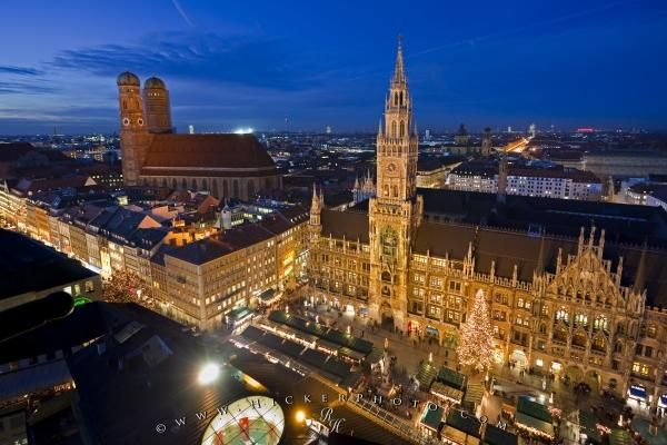 Aerial view of the Munich Christmas markets from St Peter's Church, Munich, Germany.