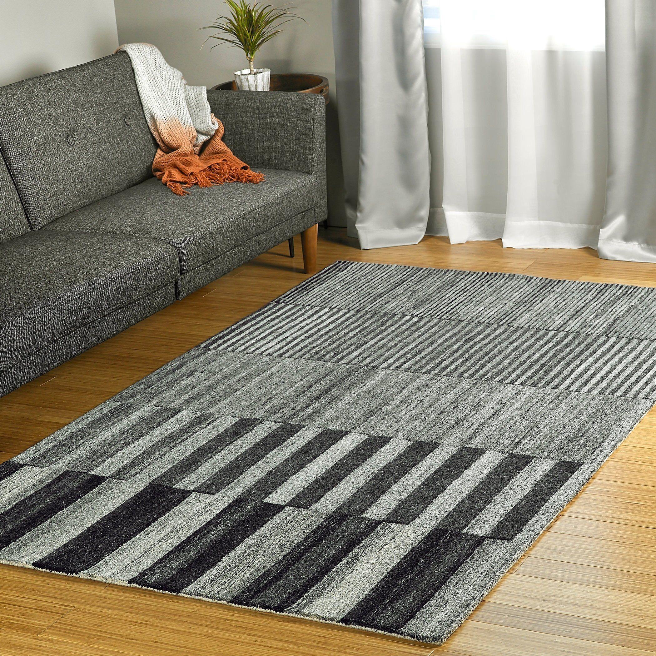 Colab Handmade Wool Area Rug Charcoal 5 X 7 9 Grey Bombay