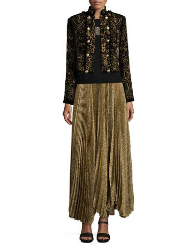 -62PK Alice + Olivia Phoenix Embroidered Knit Jacket, Beaded-Tiger Knit Sweater & Katz Shimmery Pleated Maxi Skirt