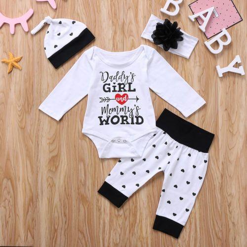 5d4d20564 Newborn Infant Baby Kid Girls Tops Romper Pants Hat Headband 4pcs ...