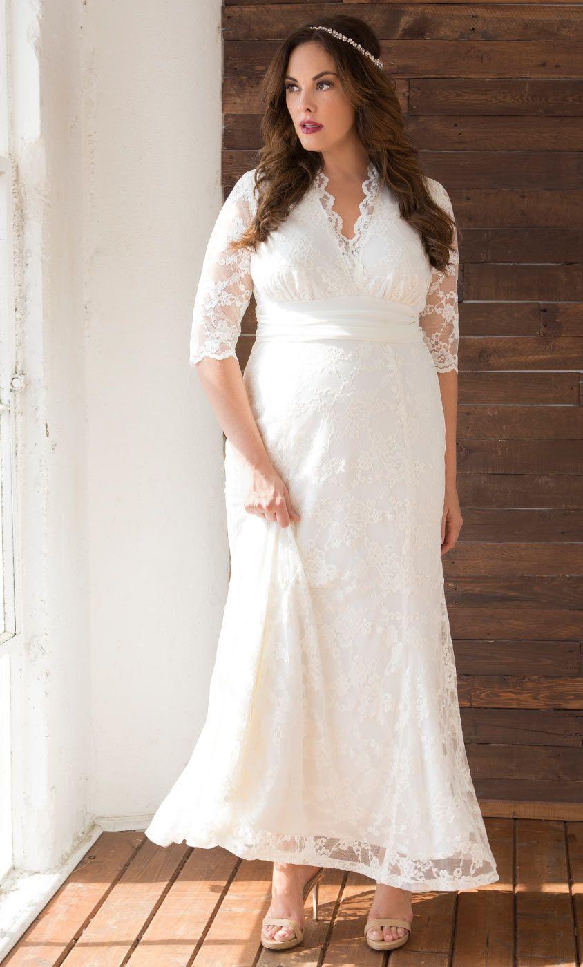 3/4 length lace wedding dress  Amour Lace Wedding Gown  Cosas para ponerse  Pinterest  Lace