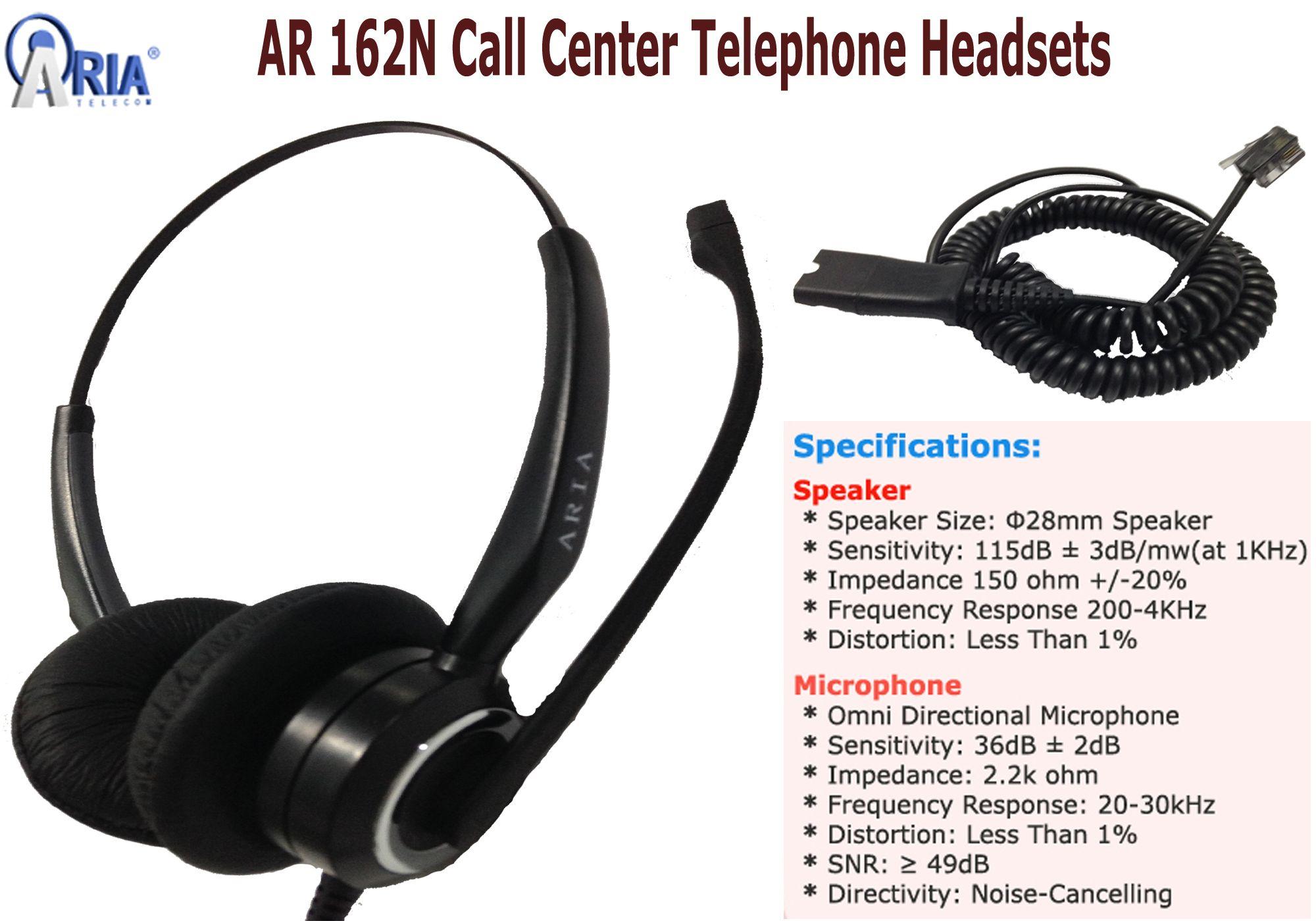 AR 162N Call Center Telephone Headsets with RJ9 QD - AR 162N