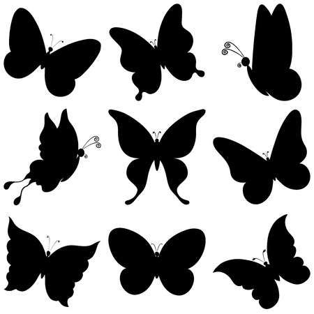 Illustration Of Various Butterflies Black Silhouettes On White Background Vector Vector Art Clipa Black Butterfly Tattoo Black Silhouette Butterflies Vector