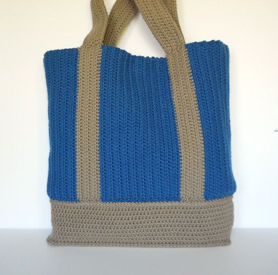 Blue and Tan Partially Lined Crochet Tote Bag by CustomBearHugs, $75.00