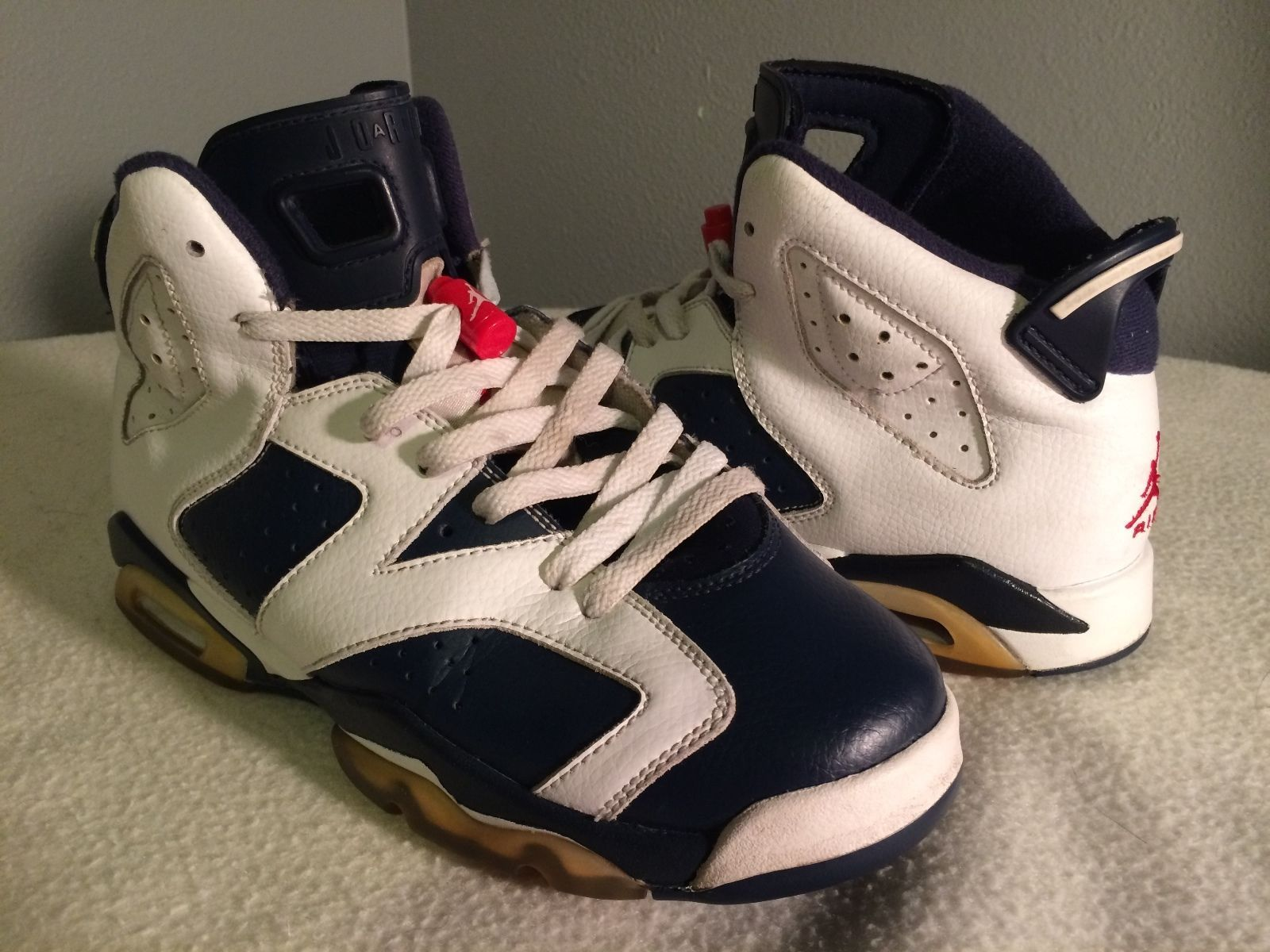 brand new 96f4d 27e0d Nike Air Jordan 6 VI Retro White Navy Olympic Size 7Y (384665-130) FREE  SHIPPING