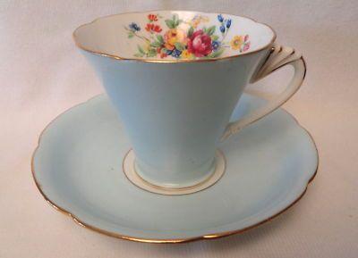 Vintage Royal Grafton ART DECO BLUE Tea Cup & Saucer