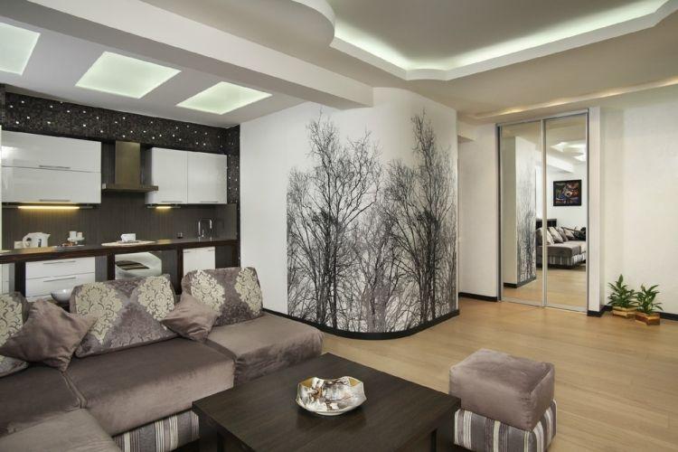 Wohnküche streichen ideen  Wohnzimmerwände Ideen tapezieren-laublose-baume-wohnkueche ...