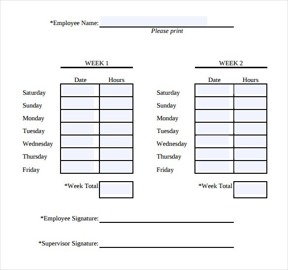 Simple Weekly Timesheet – Sample Blank Timesheet