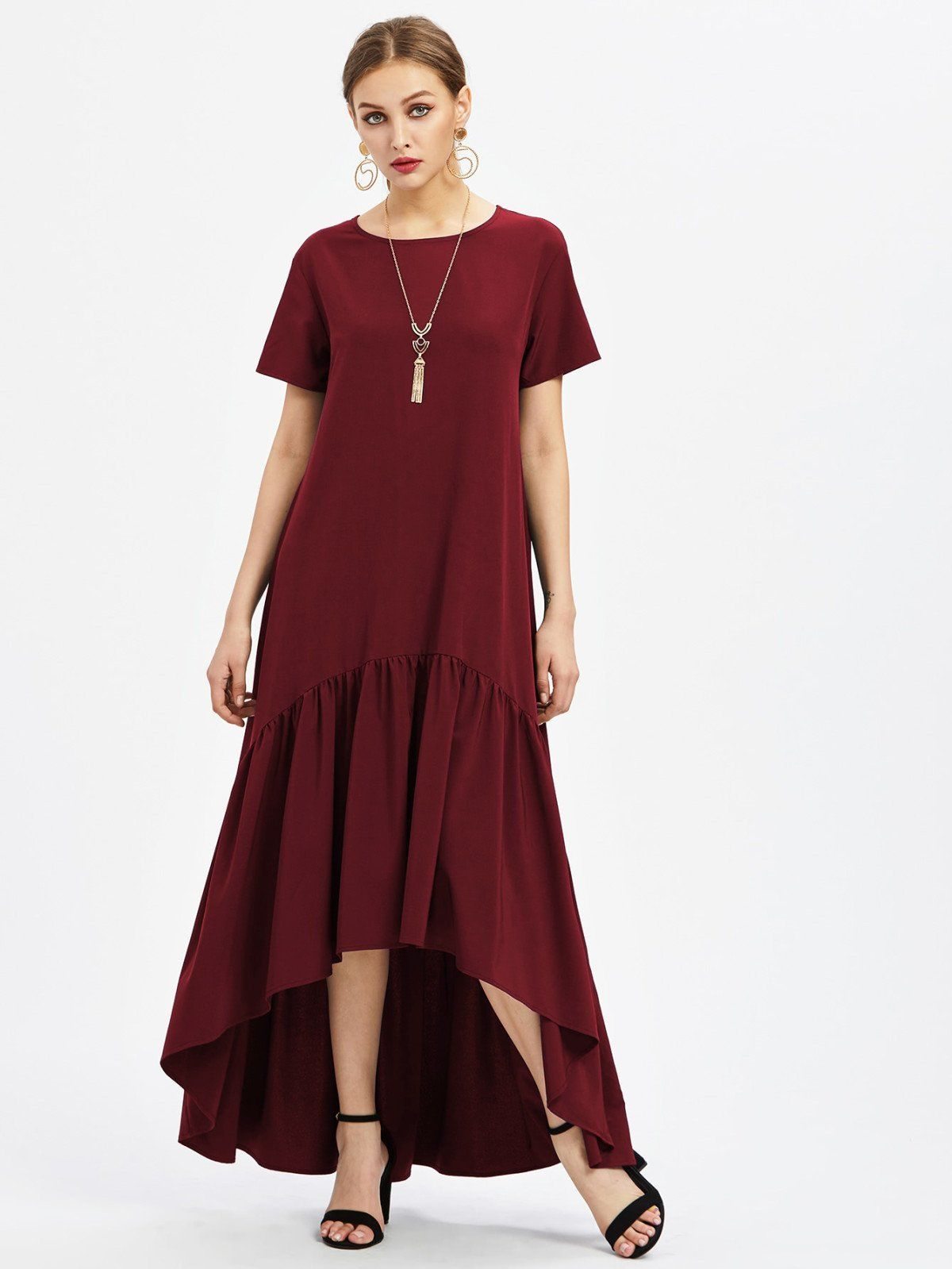 Flounce trim dip hem dress woman and fashion