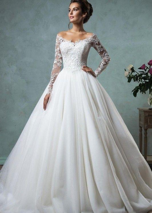Suknie Zjawiskowa Suknia ślubna Z Długim Rękawem Plus Welon 2