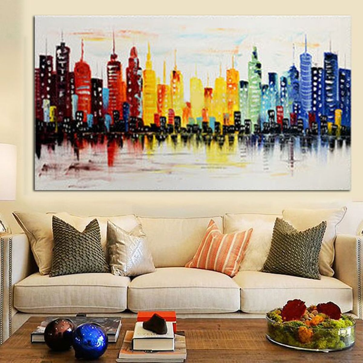 120x60cm Modern City Canvas Abstract Painting Print Living Room Art Wall Decor No Frame Paper Art Home Decor From Home And Garden On Banggood Com Canvas Wall Decor Living Room Art Modern