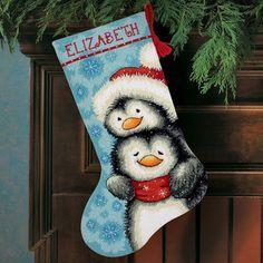 Hugging Penguins Christmas Stocking - Needlepoint Kit