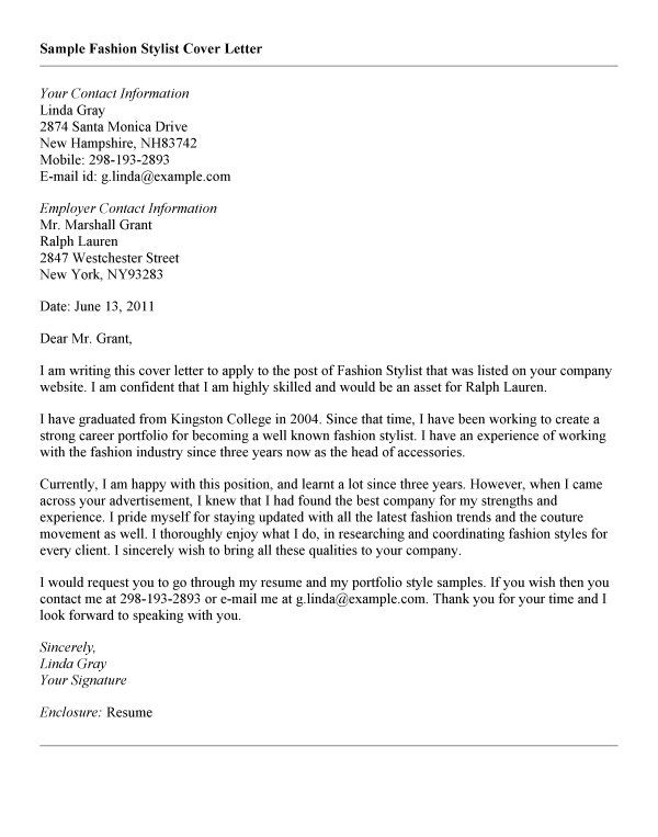 fashion cover letters - Fashion Cover Letter Examples
