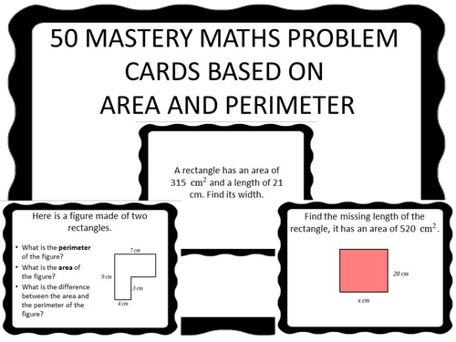 50 ks2 mastery maths problem cards based on area and