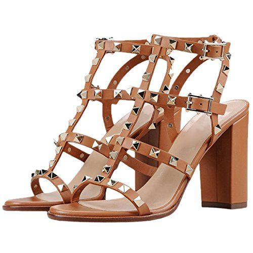 892c180c13cb AMYQ Women Sandals Matte Gold Stud Peep Toe Chunky High Heel Gladiator  Sandals Brown 12 US     Details can be found by clicking on the image.