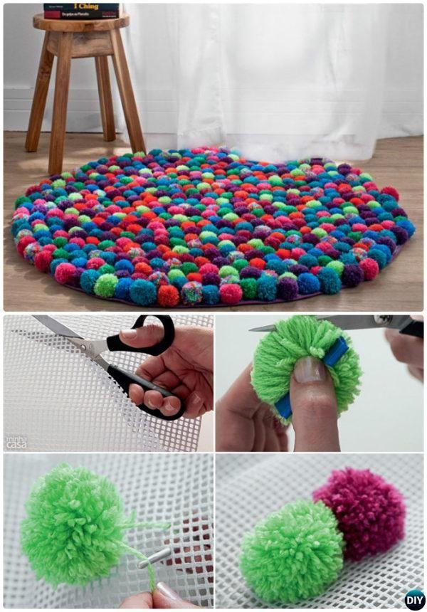 diy pom pom rug 20 no crochet diy rug ideas instructions - Diy Rug