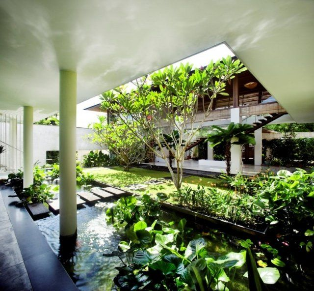 Designer Haus-Begrünung Ideen-moderne Gestaltung-Eingangsbereich