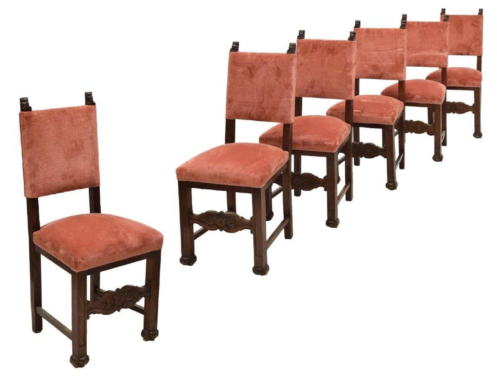 Antique wood dining tables  continental renaissance revival dining chairs  antique furniture