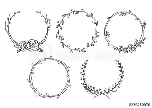 Photo of Vector illustration of hand drawn wreaths. Cute doodle floral wreath frame set. – Buy this stock vector and discover similar vectors at Adobe Stock