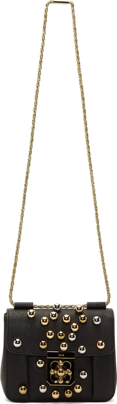 Chloé: Black Leather Gold & Silver Beaded Elsie Small Bag | SSENSE