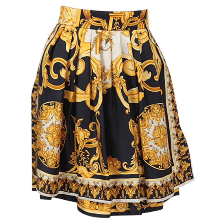 56524b480 Versace Couture Silk Baroque Scarf Print Skirt | From a collection of rare  vintage skirts at
