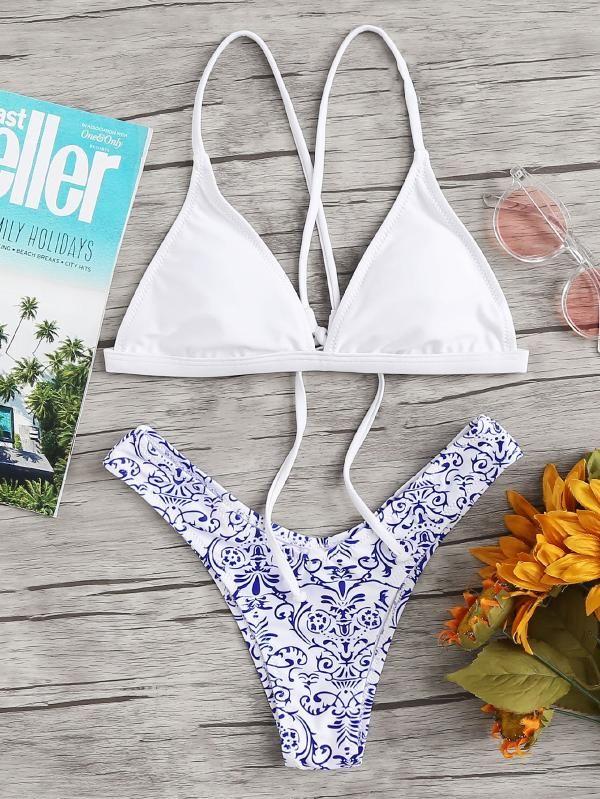 9d9f22925e Porcelain Print Triangle Bikini Set -SheIn(Sheinside) | Swimsuits in 2018 |  Pinterest | Triangle Bikini, Bikinis and Bikini set