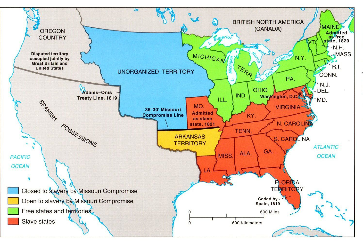 The United States in 1819 the light orange and light green areas