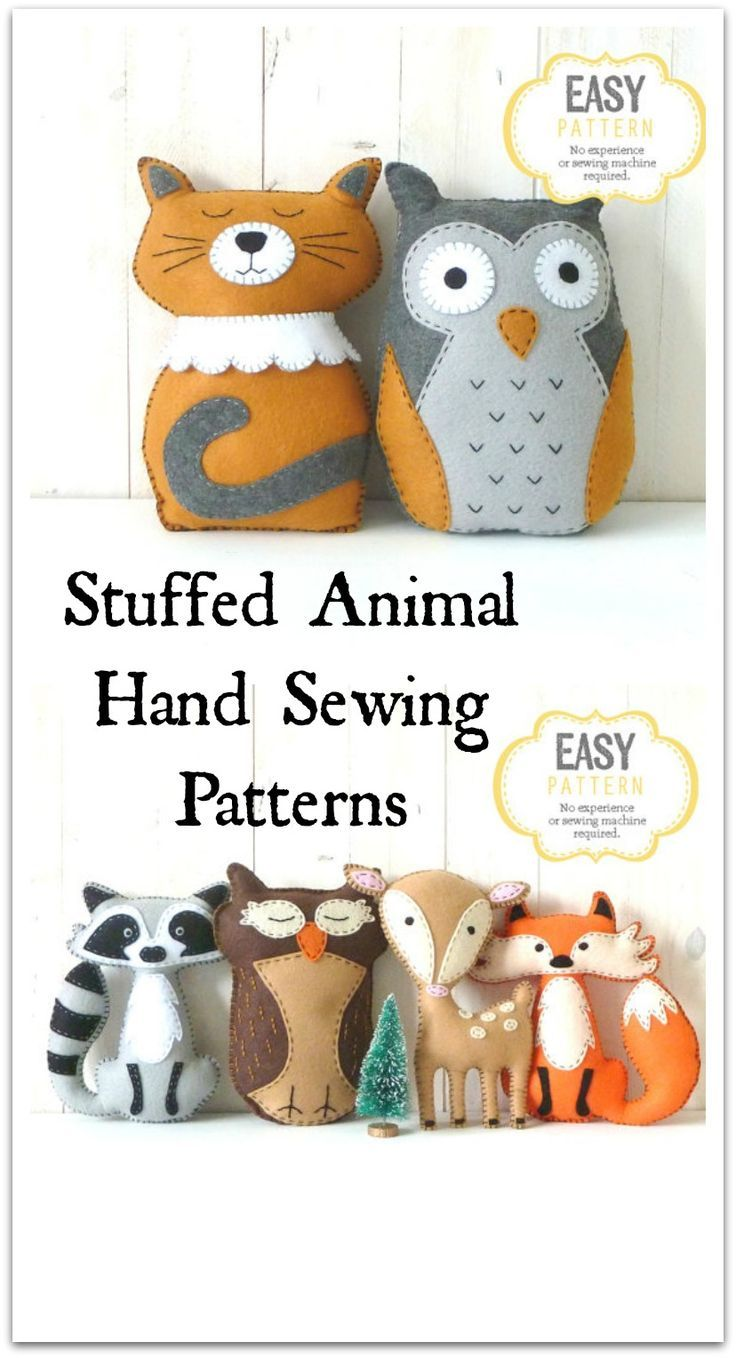 stuffed animal hand sewing patterns - instructions included with ...