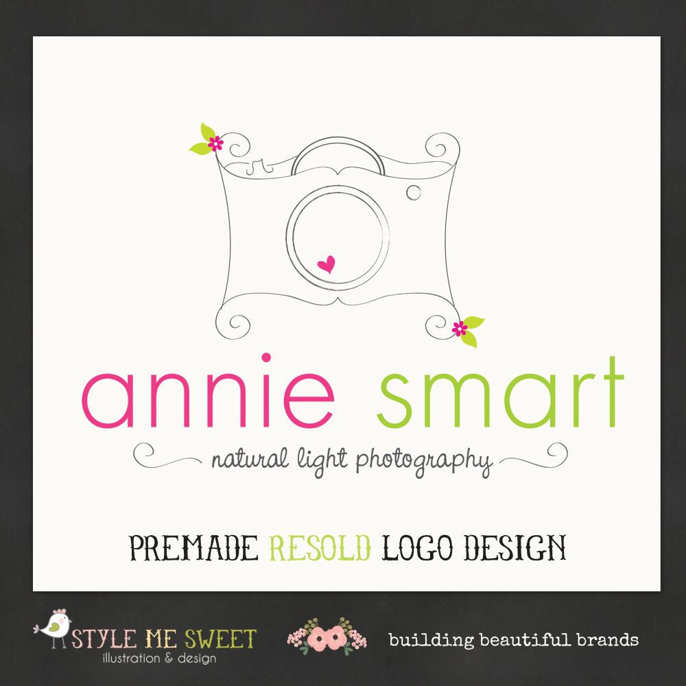 Photography Logo Premade Doodle Camera Logo Design And Watermark
