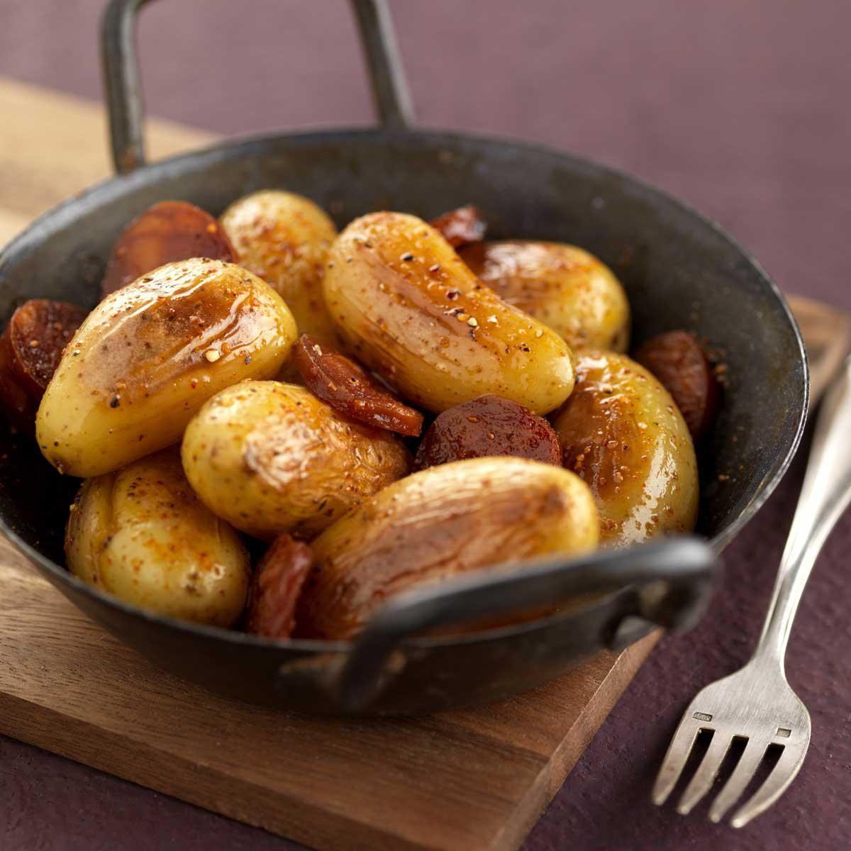Cocotte de grenailles fondantes au chorizo doux recette cuisine recettes food cooking - Comment cuisiner les pommes de terre grenaille ...