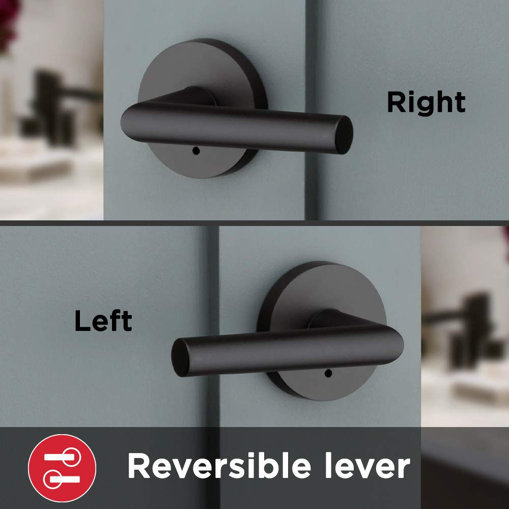 Kwikset 91550-030 Milan Door Handle Lever with Modern Contemporary Slim Round Design for Home Bedroom or Bathroom Privacy in Iron Black Pack of 2
