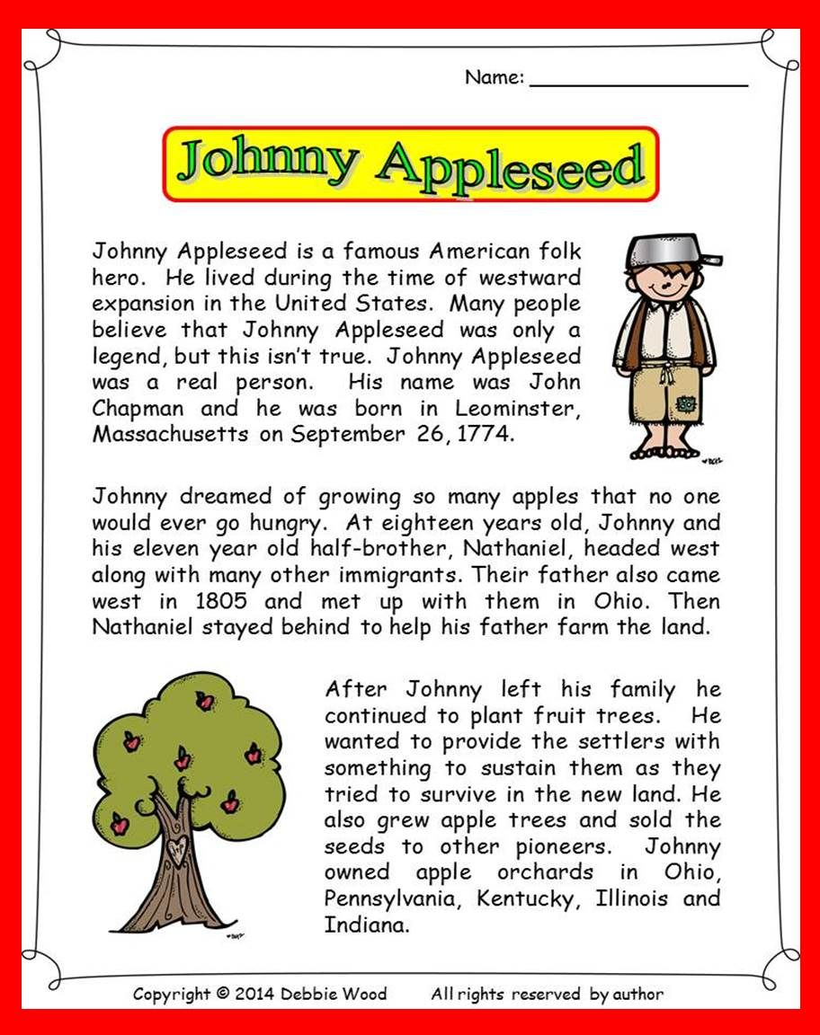 Free coloring page johnny appleseed - Johnny Appleseed Reading 3 Vocabulary Exercises Sequence Strip Story Information Questions